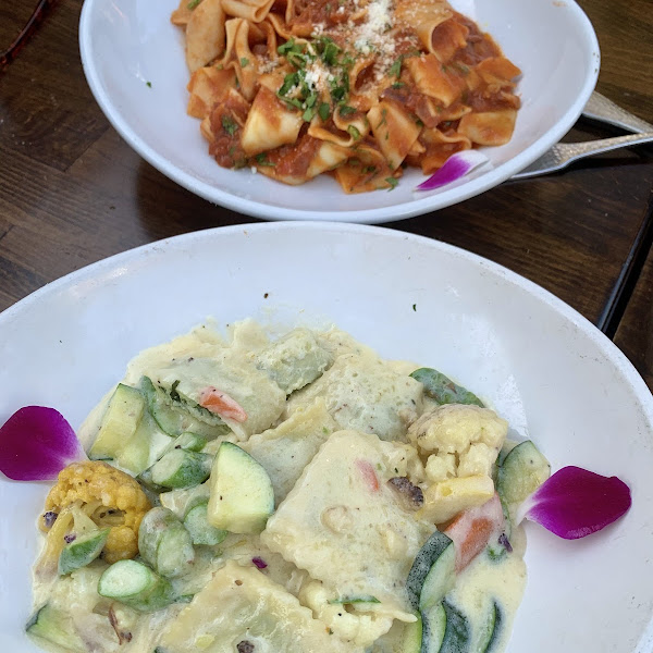 GF Ravioli with cream sauce and GF Pappardelle