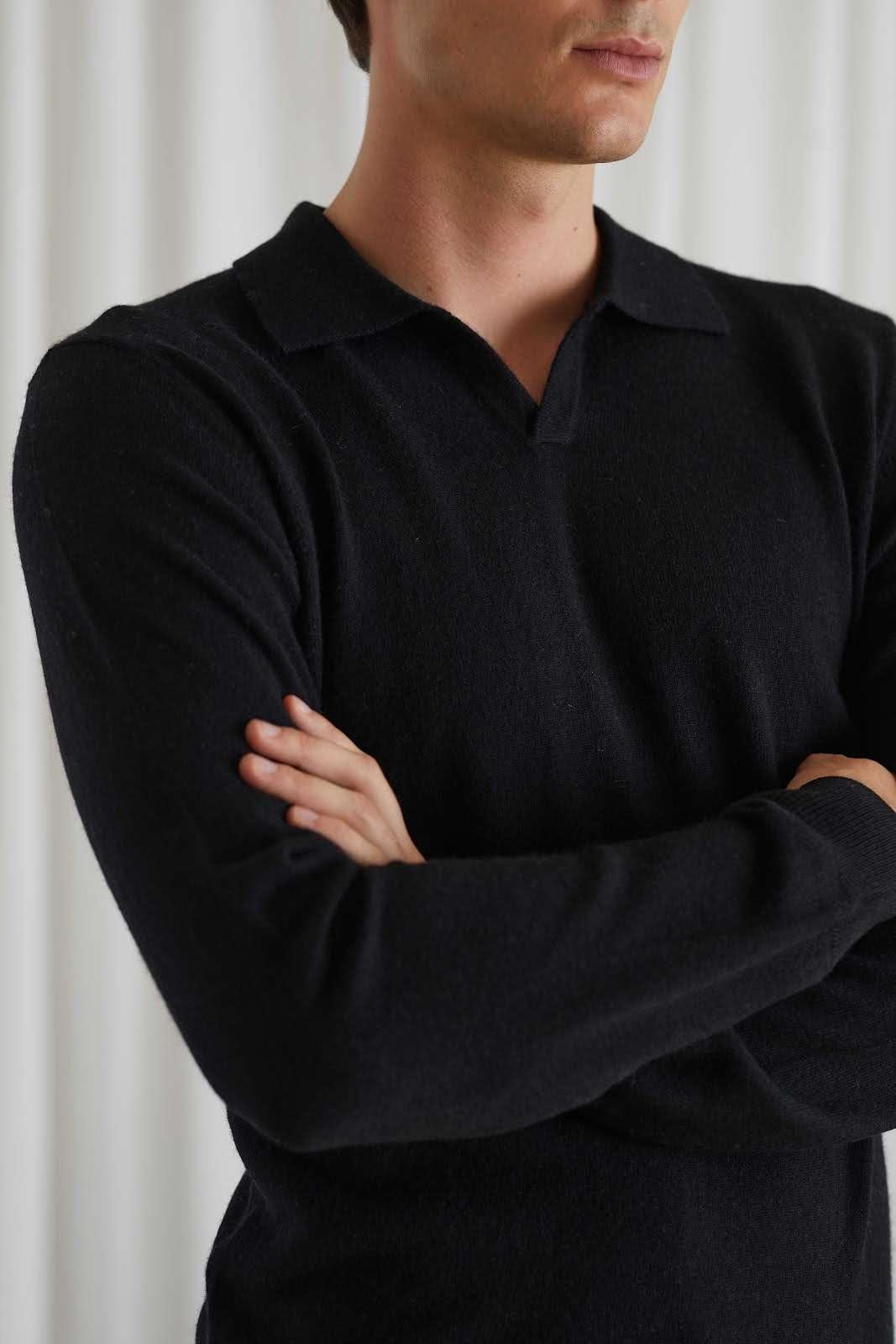 Man Open Collar Sweater