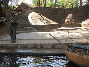 Photo: We had just embarked in a coracle like that on the right, to watch crocodiles in Kali River!