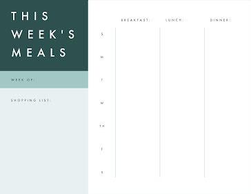 This Week's Three Meals - Planner template