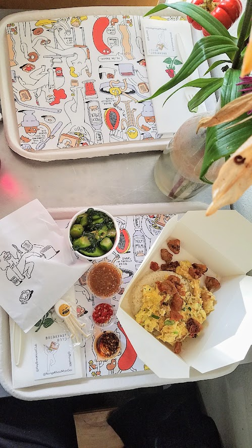 Hey Breakfast Club Popup in PDX, pop up at Nong's Khao Man Gai with Buna MX Coffee. Nong Poonsukwattana dished up an egg dish they normally serve for staff meal, stir fried with chicken fat, served with rice and her famous sauces, plus a bag of fried chicken skins and Gailan