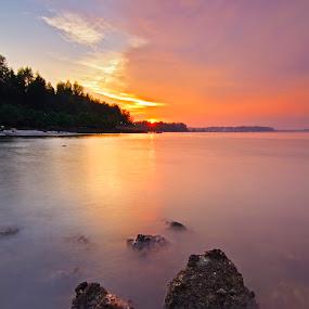 Beach Rocks by Ram Suson - Nature Up Close Rock & Stone ( punggol beach, sunset, beach rocks, rocks, punggol )