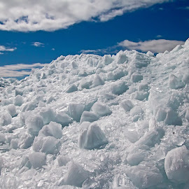 Mountain of Ice by Bill Diller - Landscapes Waterscapes ( frozen lake, frigid, michigan, nature, great lakes, frozen, ice, saginaw bay, water, ice chunks, white, chunks of ice, lake huron )