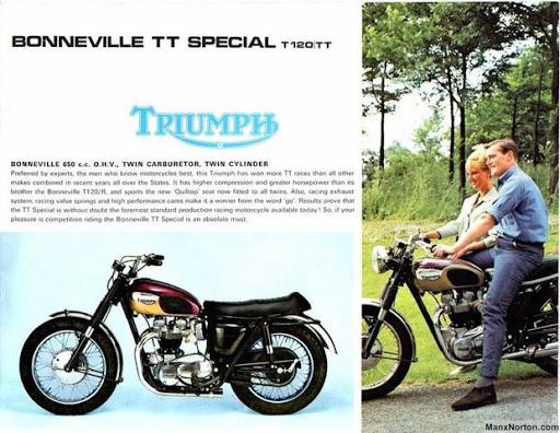 Pub officiel Triumph pour la Bonneville T120 TT de 1967 présenté par Machines et Moteurs.