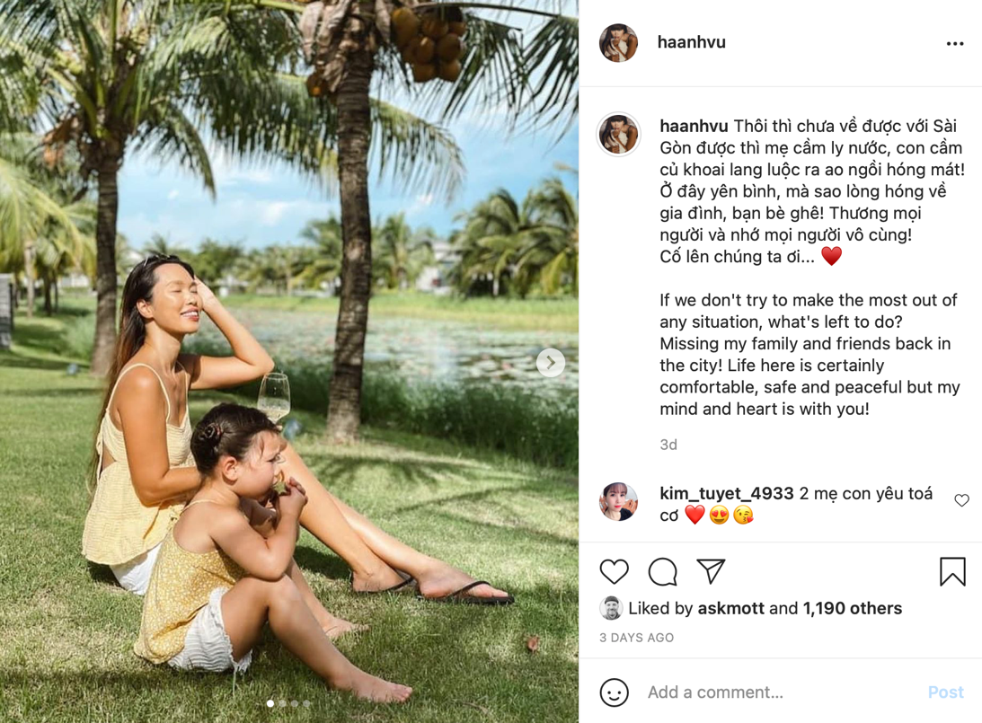 Influencers like Supermodel Ha Anh Vu have continued to keep in touch with their fans and promote brands from lockdown. (Source: Ha Anh Vu's Instagram page)