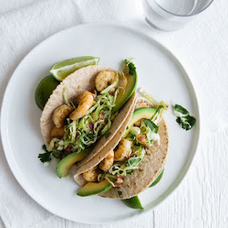 Shrimp Tacos with Cilantro, Lime, Bacon Slaw