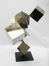 Photo: 42 REFLECTIONS - 33H X 40W X 25D Polished Stainless Steel, Painted Mild Steel,  Side 2 View