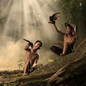 Birds Play by Alamsyah Rauf - Babies & Children Children Candids ( children, people )