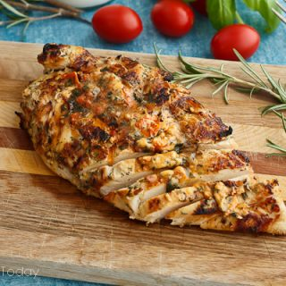 Grilled Herb-Buttermilk Chicken with Tomato-Basil Butter