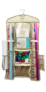 Clutter Keeper Deluxe Gift Wrap Hanging Organizer