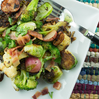 Charred Vegetables with Bacon.