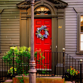 Bright Red Door Newport  R.I. by Martin Stepalavich - Buildings & Architecture Public & Historical