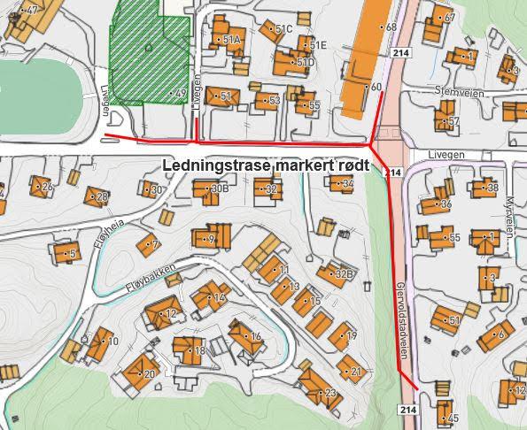 kart hvor aktuell veistrekning er avmerket