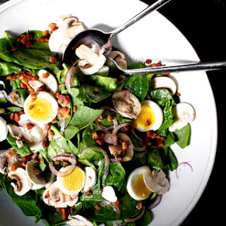 Spinach Salad with Warm Bacon Vinaigrette.