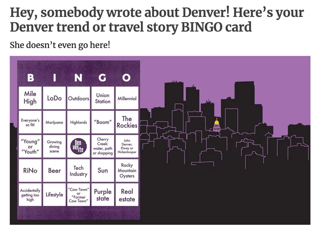 Hey, somebody wrote about Denver! Here's your Denver trend or travel story bingo card