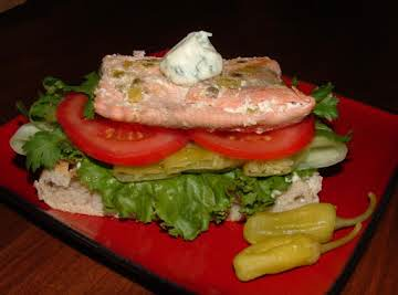 Spicy Salmon Sandwich with Ginger-Peperoncini Aioli