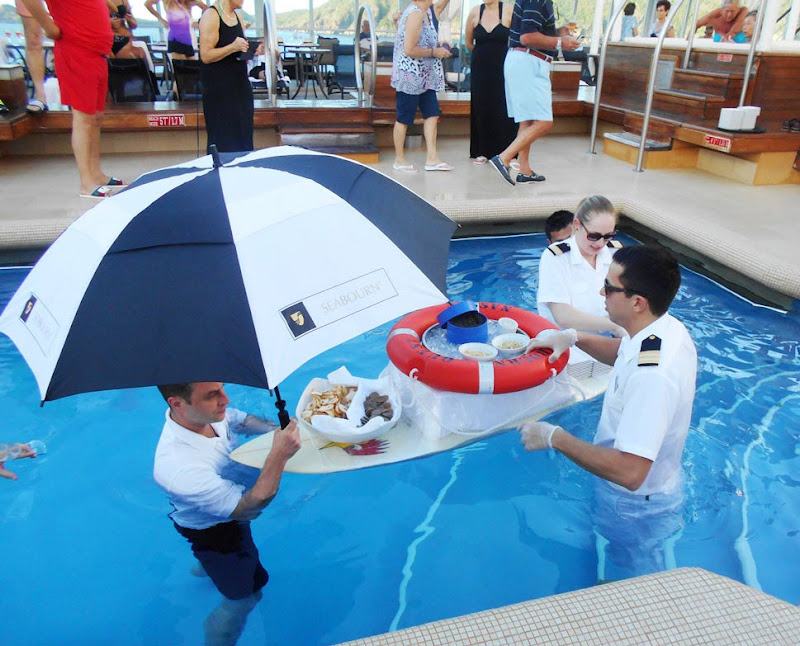 Seabourn's signature caviar-in-the-pool event during our Amazon cruise.