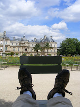 Photo: The gang decides on more shopping after lunch, but the tour guide/chauffer elects to take a break back at the Luxembourg Gardens, with a couple of hours spent napping and reading in this delightful shady spot. The only thing you don't get to see is the eclair au chocolat on my lap, but believe me, it hardly ever gets better than this.