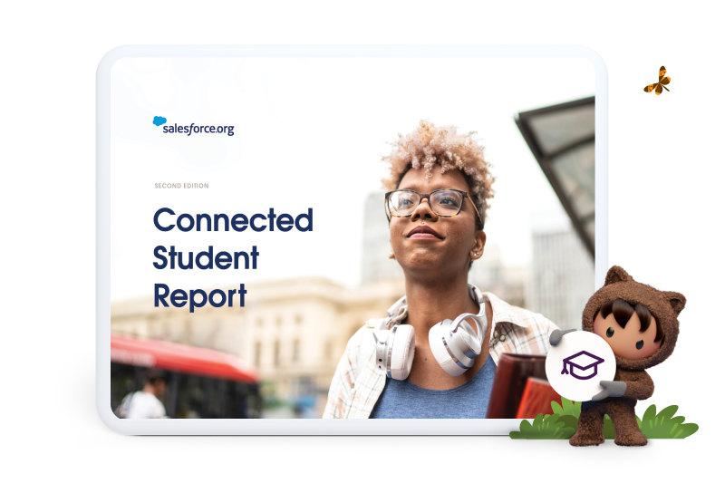 Cover image of the Connected Student Report, 2nd edition, by Salesforce.org in 2021