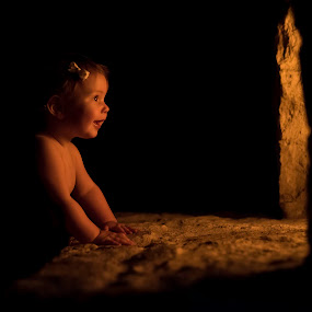 Seeing the light by Jeff Fahrenbruch - Babies & Children Babies ( girl, silhouette, family, fireplace, fire )