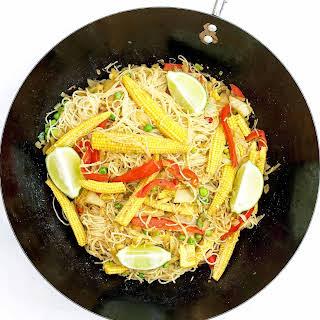 Baby Corn Singapore Noodles.