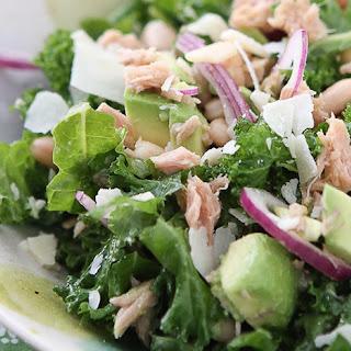 Lemony Tuna and White Bean Kale Salad with Avocado Recipe