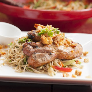 Sticky Pork Chops with Soba Noodle Salad