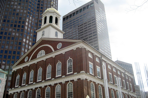Faneuil Hall,  near the waterfront in Boston, has been a marketplace and a meeting hall since 1743.