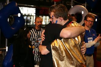 Photo: Sean Messenger hugging Kevin Ross; Dean's List Presentation.