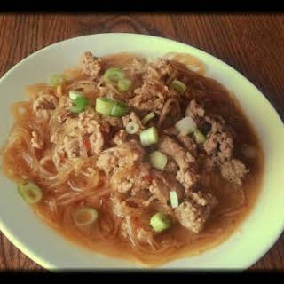 Noodles in Spicy Chinese Peanut Pork Sauce.