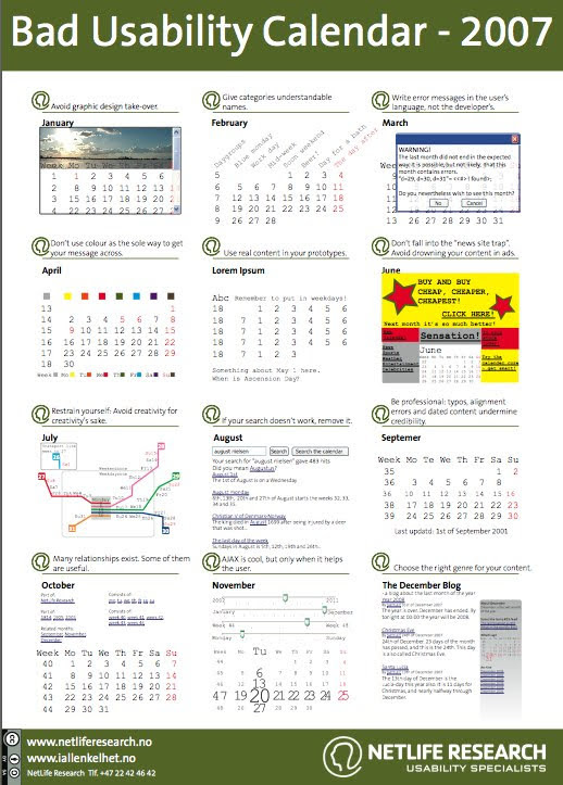 Bad Usability Calendar 2007