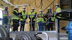 El alcade de Rioja y la delegada territorial en su visita a los trabajos