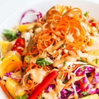 Asian Slaw with Spicy Peanut Salad Dressing.