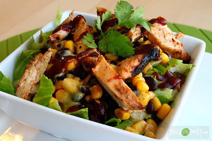 BBQ Chicken Salad with Creamy BBQ Cilantro Lime Dressing Recipe