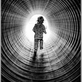 Into The Light by Jebark Fineartphotography - Babies & Children Toddlers ( circles, monochrome, children, toddler, running, light, circle, pwc79 )