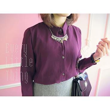 深紫色絲質恤衫 (墨綠/深紫兩色入)