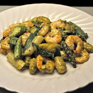 PestoShrimp with Asparagus and Gnocchi.