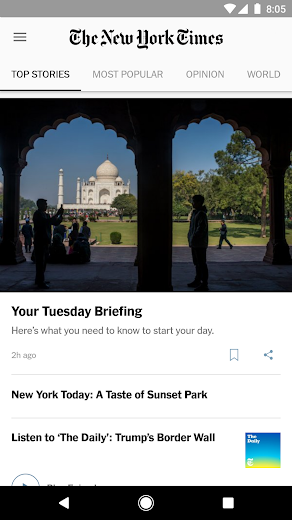 Screenshot 0 for The New York Times's Android app'