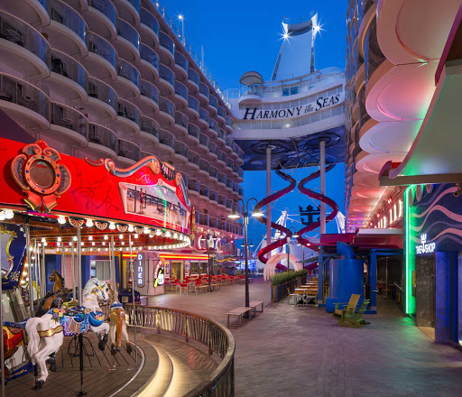 On deck 6 of Harmony of the Seas, the Boardwalk offers an open-air deck with shows, shopping, dining and a carousel.