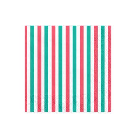 Servetter - Randiga, röd-grön-vit