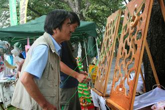 Photo: 大人も夢中な島津弘明さん作成のゲーム 「はまった―」という方が多かったです。