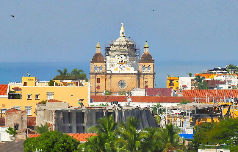 Detail of colonial style buildings in Old Cartagena, Colombia.