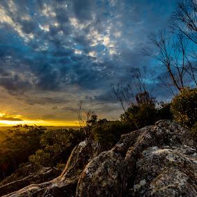 Du Faurs rocks by David Spillane - Landscapes Sunsets & Sunrises ( clouds, mt wilson, tree, sunset, bush, nsw, star burst, blue mountains, rocks, golden,  )