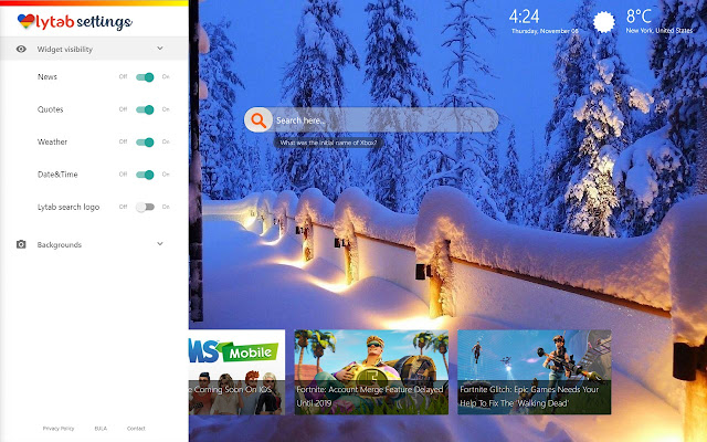 Winter Landscape Themes and New Tab