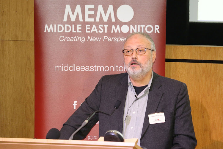 Jamal Khashoggi speaking at an event hosted by Middle East Monitor in London, Britain, in this file photo taken on September 29 2018. Picture: MIDDLE EAST MONITOR/HANDOUT VIA REUTERS