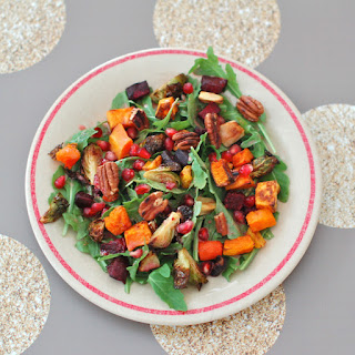 Roasted Root Vegetable Salad with Pomegranate Ginger Dressing.