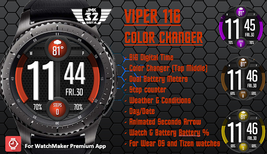 VIPER 116 color changer watchface for WatchMaker for PC-Windows 7,8,10 and Mac apk screenshot 3