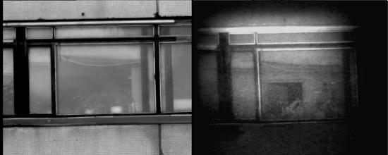 Photo: Слева: окна здания напротив освещены солнцем. Стекла окон грязные, бликуют на солнце. За стеклами практически ничто не просматривается ни визуально, ни с помощью ТВК.  Справа: те же окна, но наблюдаемые с помощью прибора «Призрак-М». За стеклами видна часть помещения. Виден шкаф, на котором стоит ваза, и приоткрытая дверь в это помещение.