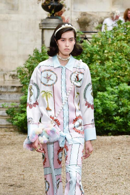 Pearl headbands featured in the Paul & Joe Womenswear Spring/Summer 2020 show during Paris Fashion Week.
