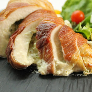 Creamy Basil Stuffed Chicken, wrapped in Prosciutto